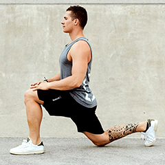 stretching hip and hip flexor muscle in leg